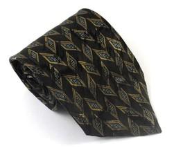 Wembley Necktie Tie Silk Geometric Pattern Black Blue Silver Made USA - $4.94