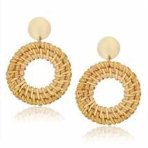 Rattan Hollow Circle Hoop Earings Straw Stud for women girls bohemian [1... - €9,26 EUR