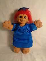 Russ Graduation Troll Plush Doll Blue Cap Gown Red Hair - $7.90