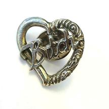 Bitch Word Heart Fine Pewter Brooch Pin - Approx. 1 Inch Tall (T194) image 3