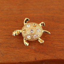 Vintage NAPIER Crystal Rhinestone 10k Gold Plated Turtle Brooch Pin Signed Small - $29.59