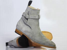 Handmade Men's Gray Suede High Ankle Monkstrap Jodhpurs Boots image 1