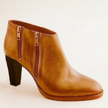 J. Crew Lexington Zip Booties Size 9.5 Camel Brown Leather Made In Italy - $49.50