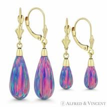 Fiery Lavender Lab Opal Leverback Tear-Drop Dangling Earrings in 14k Yellow Gold - $94.29