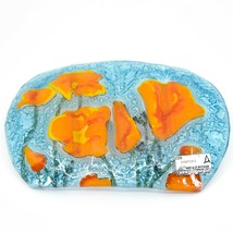 Fused Art Glass Orange Poppy Poppies Flower Design Soap Dish Handmade Ecuador image 2