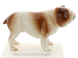 Hagen-Renaker Miniature Ceramic Dog Figurine Bulldog Standing Brown & White image 1