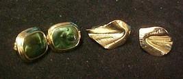 Clip Back Earrings Green Swirl Stone Square Gold Leaf Costume Fashion - $14.67