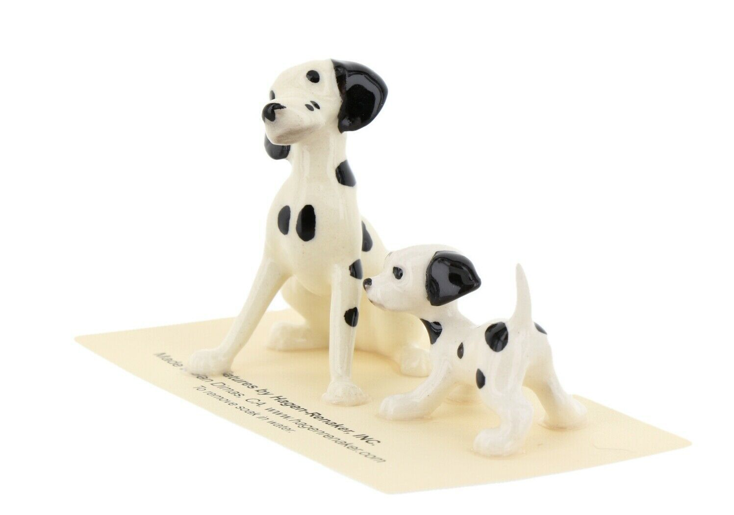 Hagen Renaker Dog Dalmatian Papa and Puppy Ceramic Figurine Set