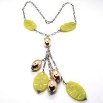 Silver 925 Necklace, Ovals Pink, Jasper Green Wavy, Pendant Bunch - $205.50
