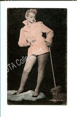 Primary image for PIN-UP GIRL-ARCADE CARD-1940-WOMAN WALKING POODLE G/VG