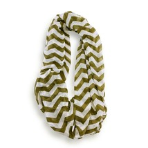 Olive White Chevron Stripped Infinity Scarf Loop Sheer Wrap Scarves - $9.49