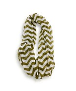 Olive White Chevron Stripped Infinity Scarf Loop Sheer Wrap Scarves - €8,71 EUR