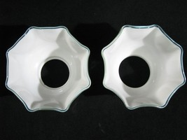"Pair Hand-Blown Opaque White Gas Light Shades with Teal Border 3 3/8"" X 8"" - $129.00"
