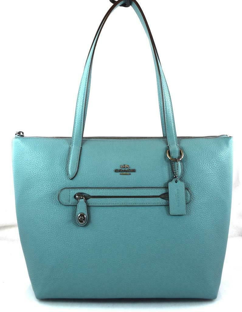 Primary image for AUTHENTIC NEW NWT COACH $275 PEBBLE LEATHER TAYLOR MARINE BLUE TOTE 38312