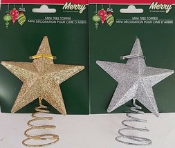 Christmas Ornaments Glitter Mini-Tree Toppers 1 Ct/Pk  SELECT: Gold or Silver - $2.99