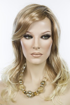 Strawberry Tipped Pale Blonde Shaded Med Brown Blonde Medium Lace Front Wigs - $304.29