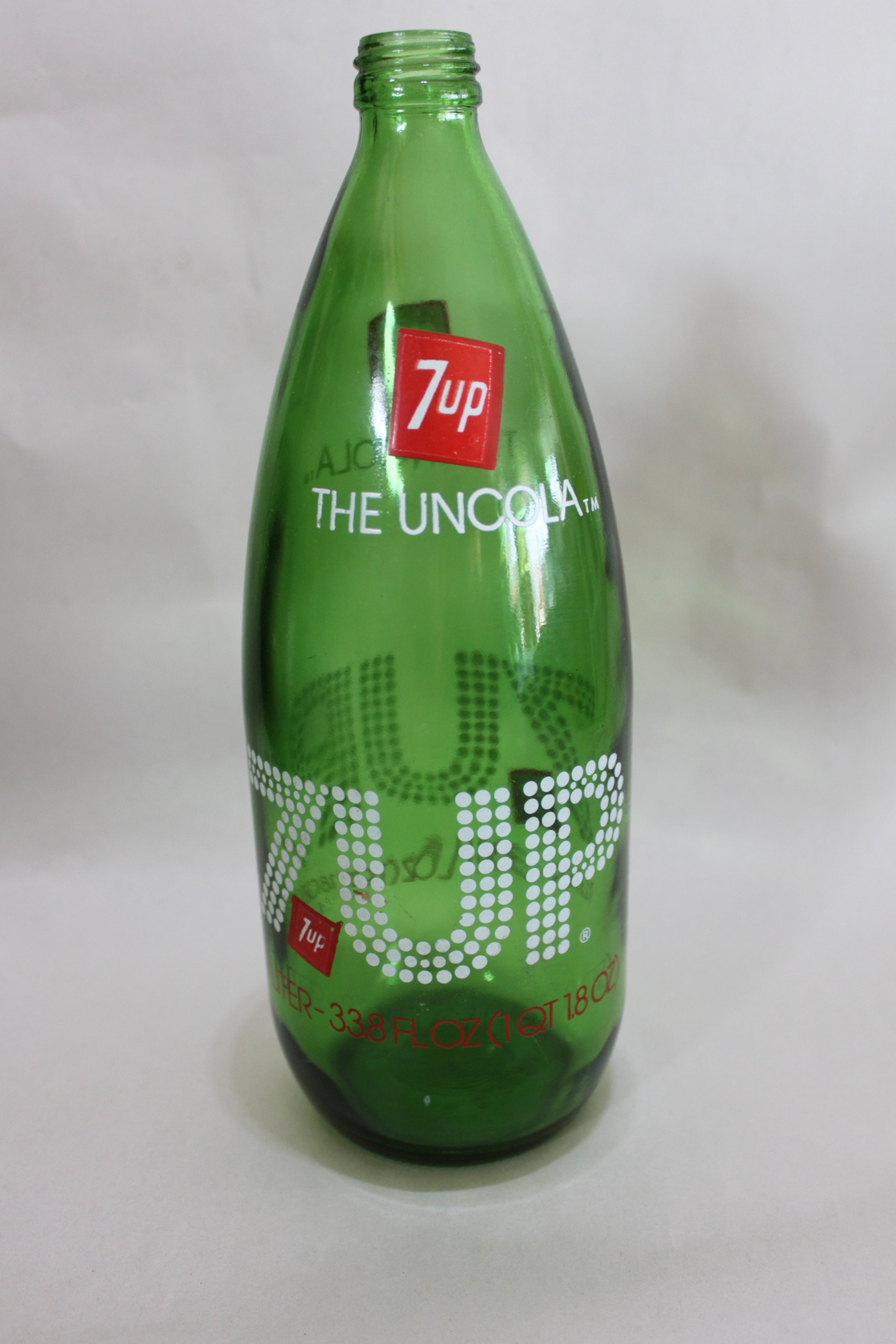 Vintage Empty Green Glass 7up Bottle 1 Liter