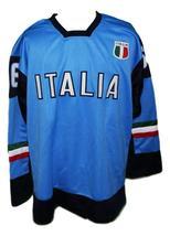 Custom Name # Team Italy Hockey Jersey New Sewn Blue Zirilli #66 Any Size image 1