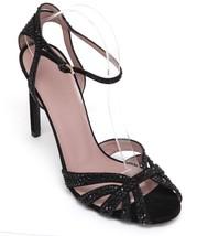 GUCCI Sandal Suede Black Crystal HALA Leather Ankle Strap Gold Buckle Sz... - $327.75