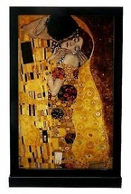 "Gustav Klimt the Kiss Painting 12"" Height Art Glass With Base Home Decor - $90.99"