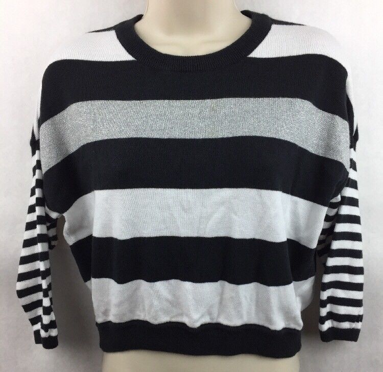 Primary image for Girl's Justice Black Gray & Black Striped 3/4 Sleeve Shirt Size 16