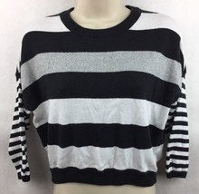 Girl's Justice Black Gray & Black Striped 3/4 Sleeve Shirt Size 16 - $12.86