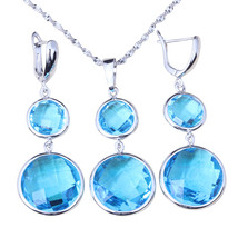 Round Blue Sky Zircon 925 Silver Jewelry Sets For Women Necklace Pendant... - $15.99