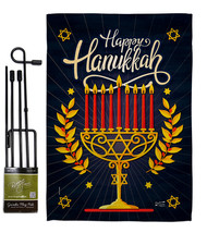 Happy Hanukkah - Impressions Decorative Metal Garden Pole Flag Set GS137... - $27.97