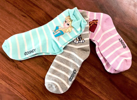 GAP Kids Girls Socks Shoe Sz 3-4 Pack of 3 Disney Frozen Gray Striped Ha... - $13.99