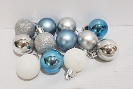 "(12) Coastal Beach Nautical Christmas MINI Ball Aqua Blue Ornaments 1.5"" - $13.99"