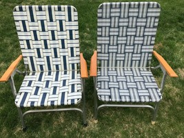 Vtg Pair Aluminum Folding Lawn Chairs Webbing Wood armrests Patio Campin... - €62,02 EUR