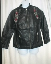 NEW WOMENS SIZE 16W EMBROIDERED FAUX  BLACK LEATHER  MOTO MOTORCYCLE JACKET - $23.50