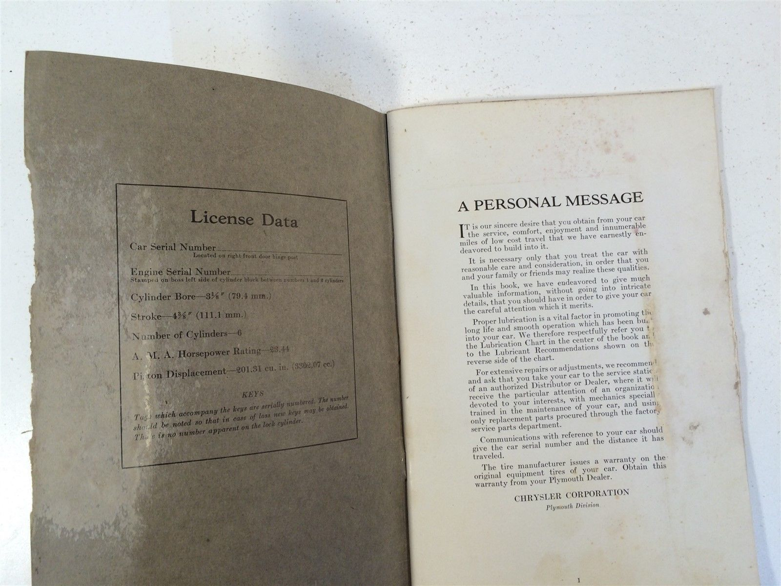 1935 Plymouth Instruction Book (Code P1, P2) Second Edition OEM Chrysler