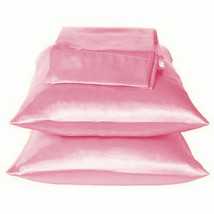 Solid Pink Charmeuse Lingerie Satin Pillowcases Queen - $9.99