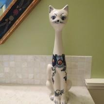 VTG Italian? MCM Long Neck Porcelain Hand Painted Floral Cat Sculpture f... - $54.45