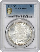 1892-CC $1 PCGS MS63 - Popular, Scarce Carson City Morgan - Morgan Silve... - $2,104.90