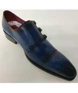 New Encore Fiesso Navy Leather Buckle Brogue style Loafer Dress Shoes FI... - $129.99