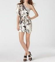 Jessica Simpson Dress Sz 10 Woodgrain Whisper White One Shoulder Ruffle ... - $59.35