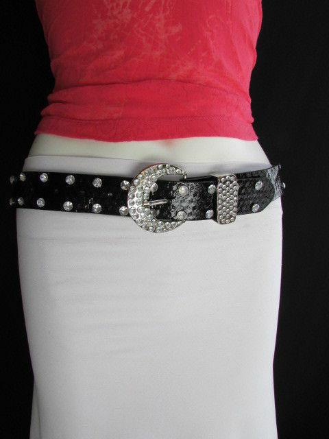 Damen Kunstleder Western Schwarz Gürtel Große Schleife Silber Perlen Schnalle image 4