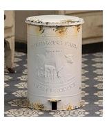 Farmhouse Kitchen White Metal distressed Trash Bin Cow w/foot pedal  - $69.99