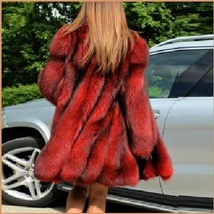 Red Hair Fox Faux Fur Hip Coat Jacket