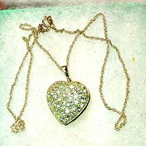 Beautiful silver heart rhinestone locket necklace - $26.73