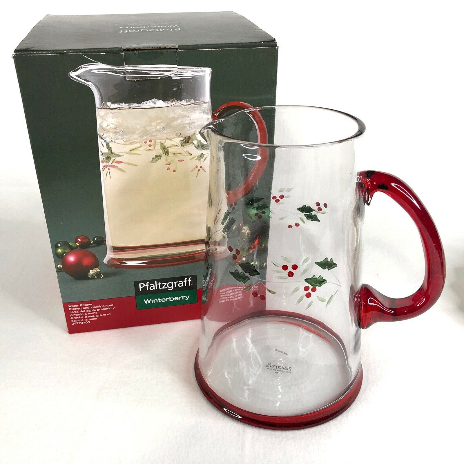 New Pfaltzgraff Winterberry Glass Pitcher Etched Hand Painted 2.5 QT Christmas - $24.26