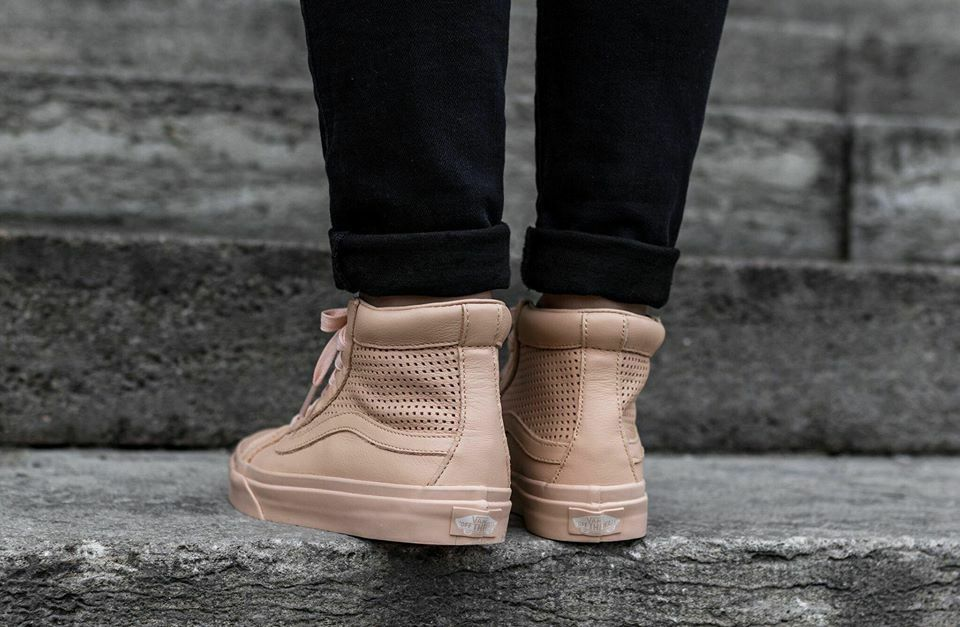 VANS Sk8 Hi Slim Cutout (Square Perf) Amberlight Leather Womens Shoes 8.5
