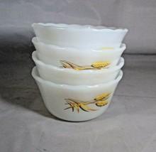 "Custard Dishes 4 Fire-King White Milk Glass Yellow Wheat Design 2"" Tall ... - $8.42"