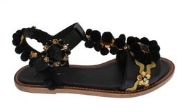 Dolce & Gabbana Black Leather Crystal Torero Sandal Shoes - $574.37