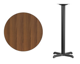 "Offex 30'' Round Walnut Laminate Table Top with 22'' x 22"" Bar Height Table Base - $136.45"