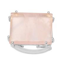 Sterling Silver Rectangular Split Shank Wired Prongs Rose Quartz Handmad... - £15.69 GBP