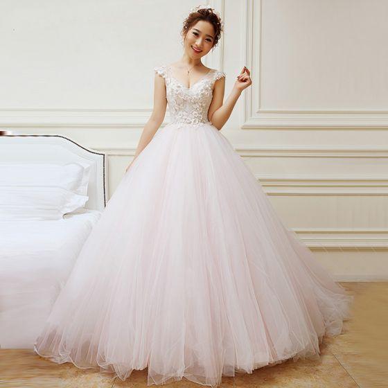 Charming Ivory Blushing Pink Wedding Dresses 2018 A-Line / Princess ...