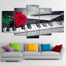 Piano Keys Rose Music Compose 5 Piece Canvas Wall Art Print Home Decor - $118.79